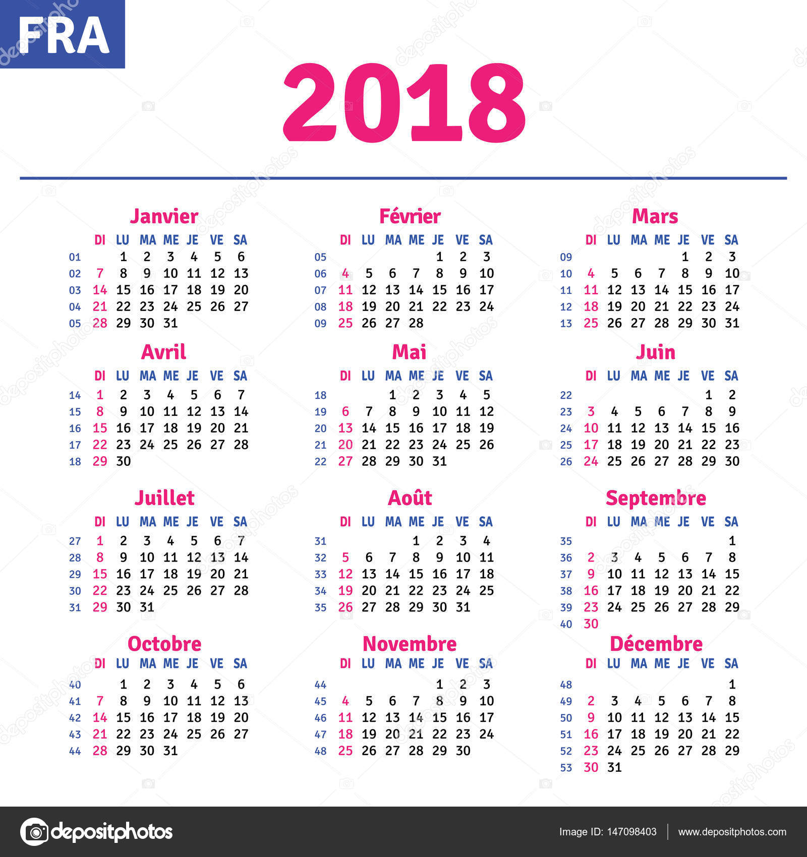 french calendar 2018 stock vector