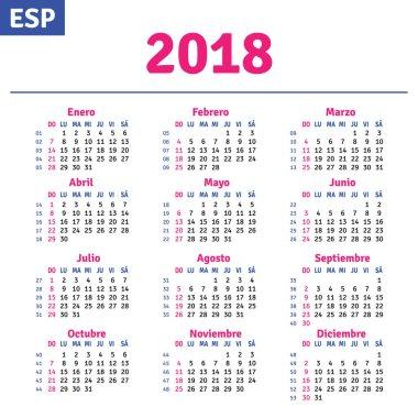Spanish calendar 2018