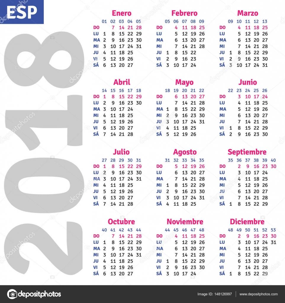 Calendario Spagnolo.Calendario Spagnolo 2018 Vettoriali Stock C Rustamank