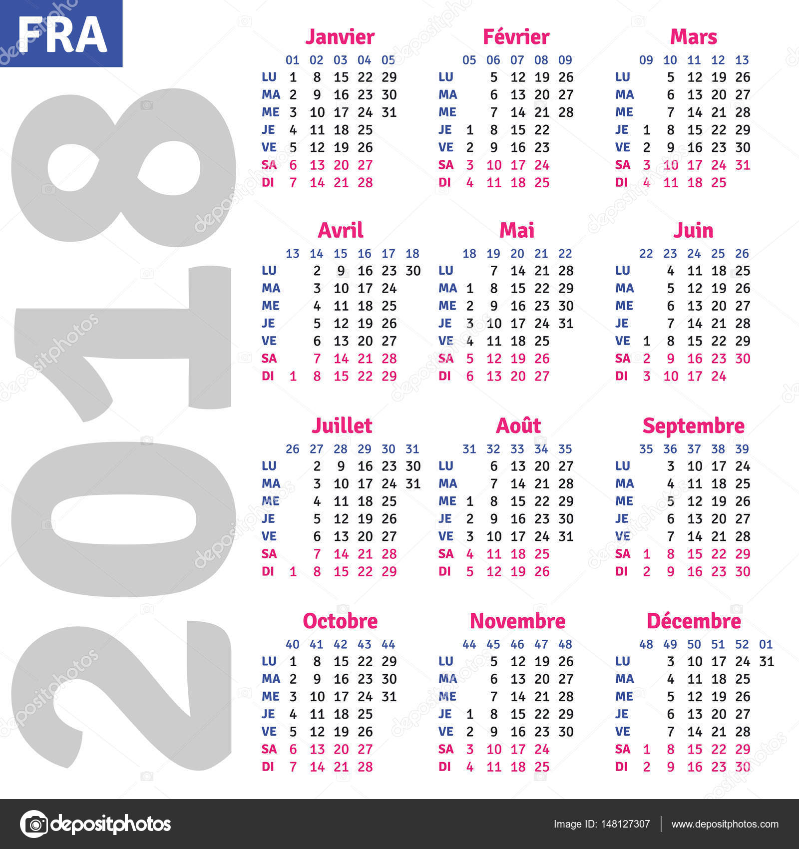 French Calendar 2018 Stock Vector C Rustamank 148127307