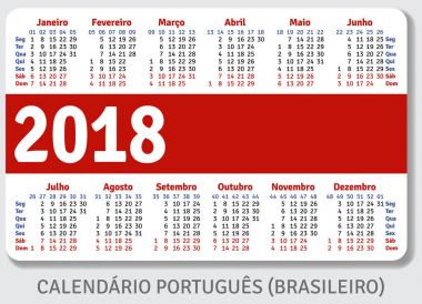 Portuguese (Brazilian) pocket calendar for 2018