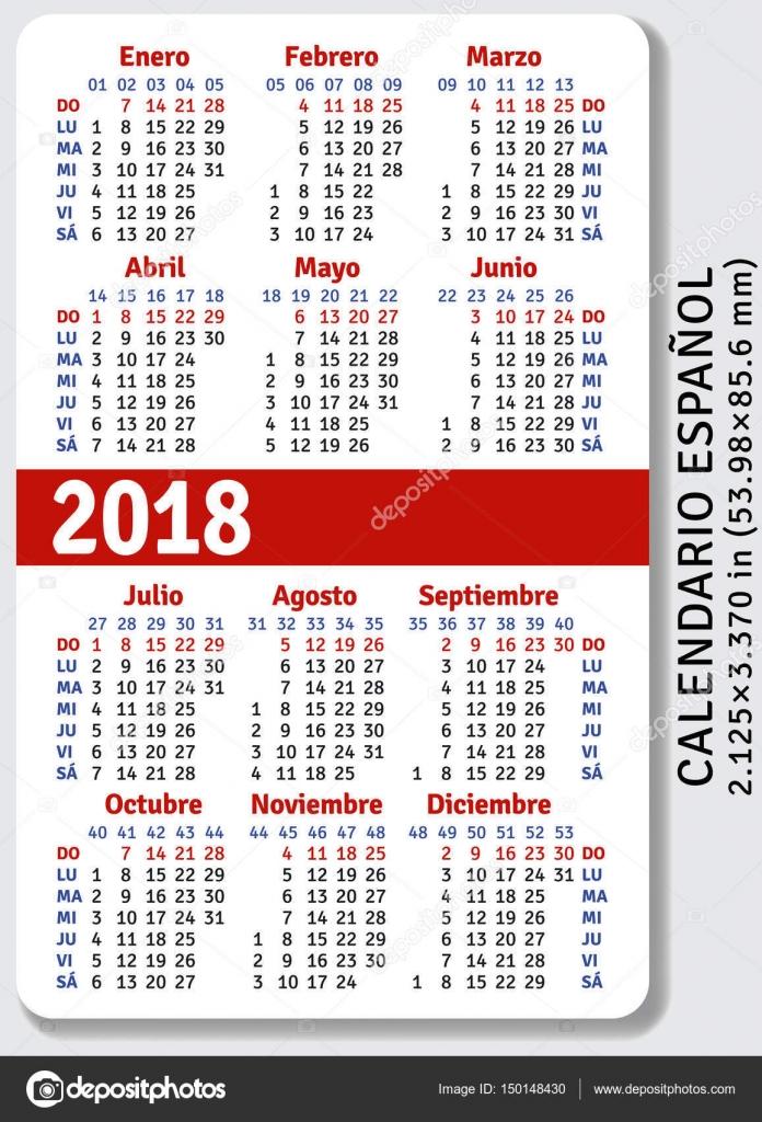 Calendario de bolsillo español para 2018 — Vector de stock ...