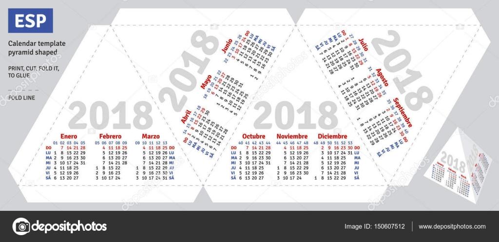 Template Spanish Calendar 2018 Pyramid Shaped Stock Vector