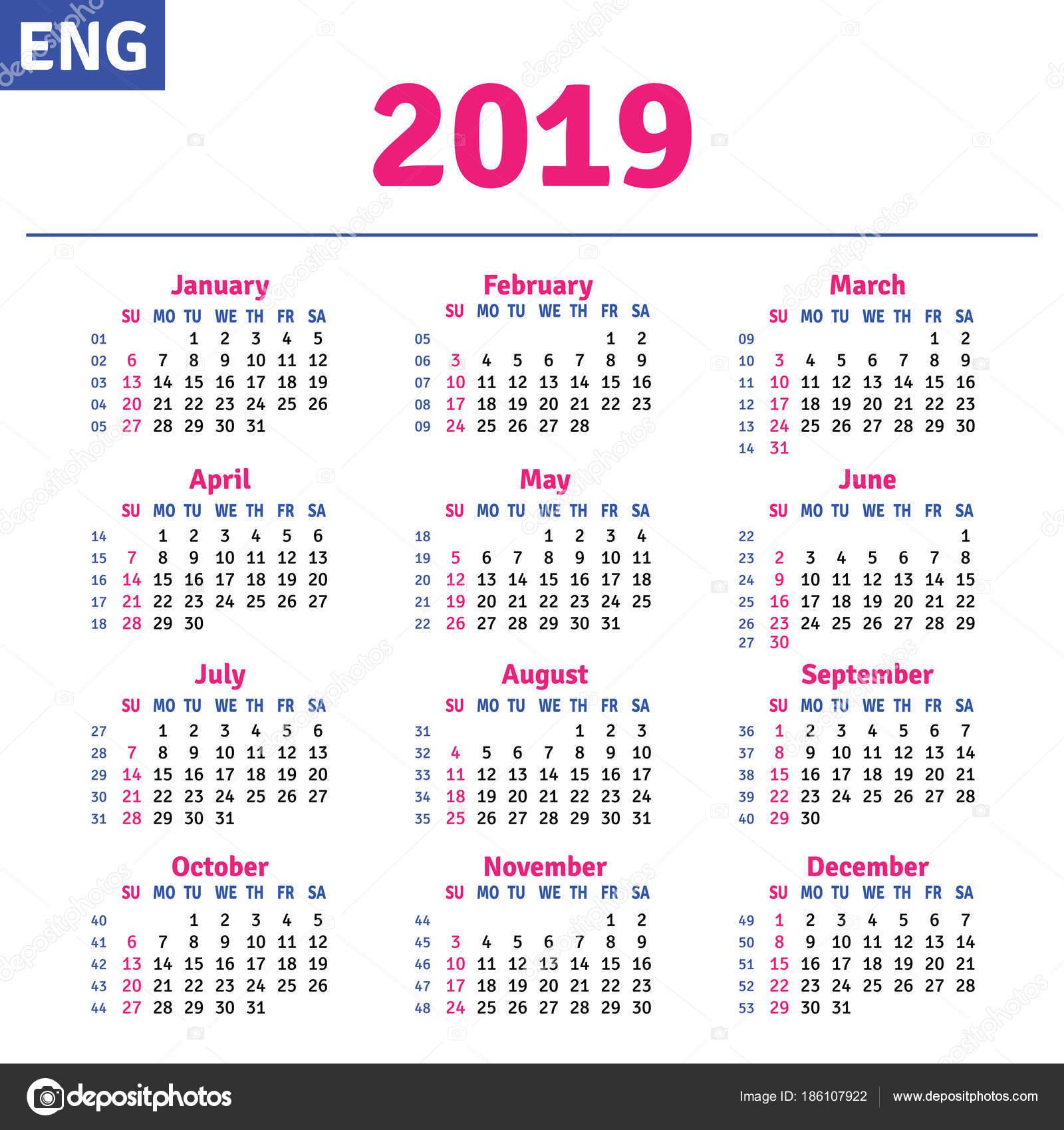 Calendario 2019 English.English Calendar 2019 Stock Vector C Rustamank 186107922