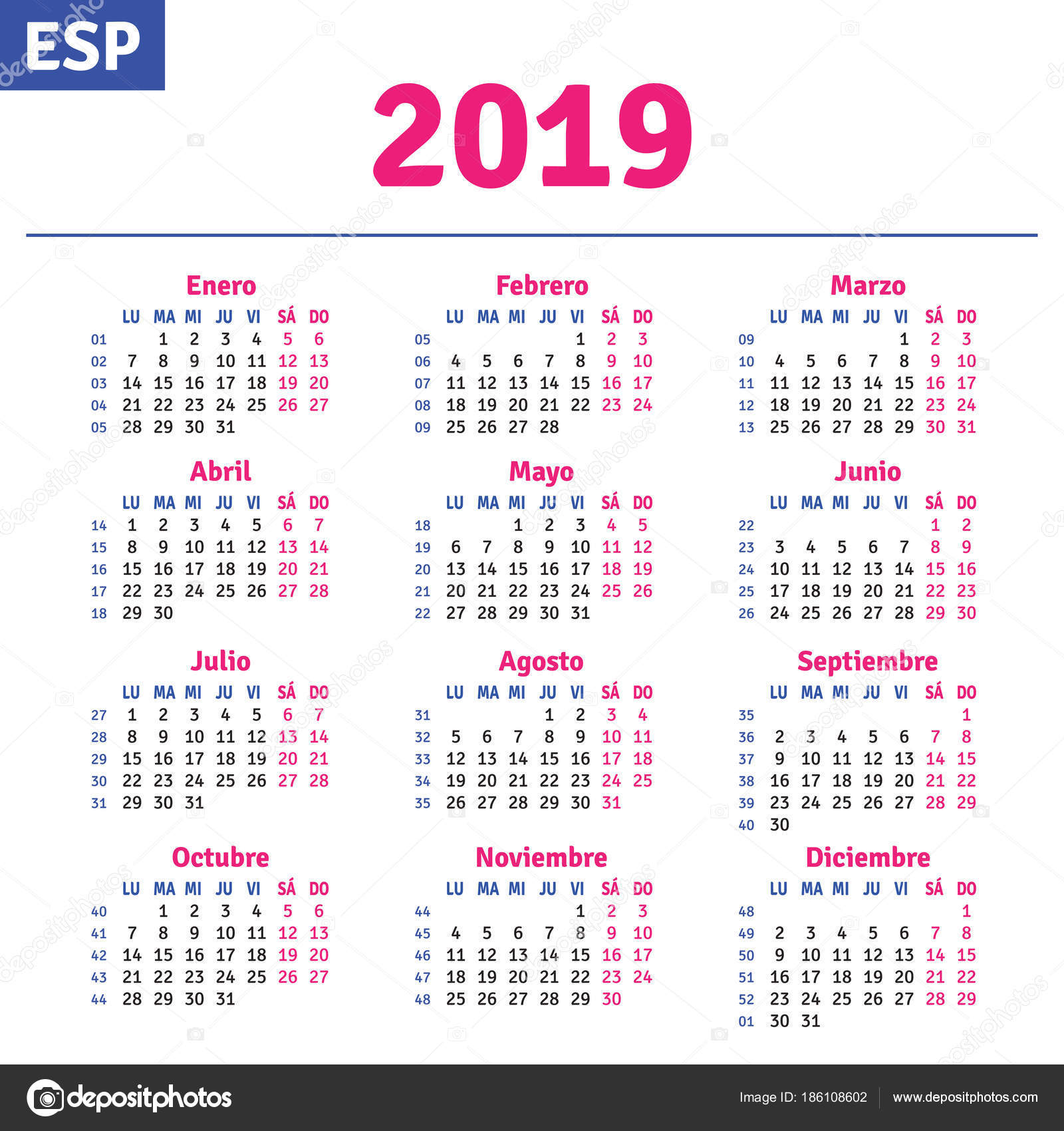 Calendario Julio 2019 Vector.Spanish Calendar 2019 Stock Vector C Rustamank 186108602