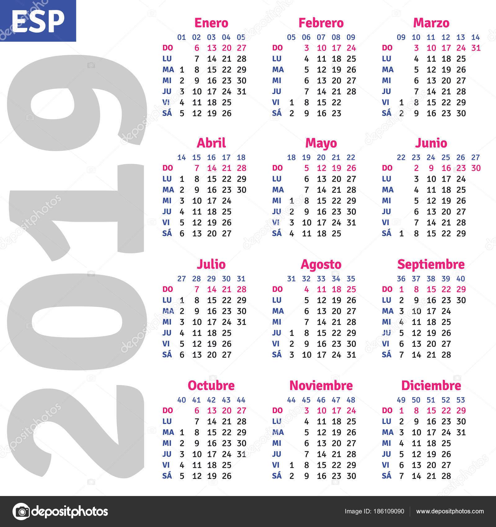 Calendario Vectorizado.Spanish Calendar 2019 Stock Vector C Rustamank 186109090