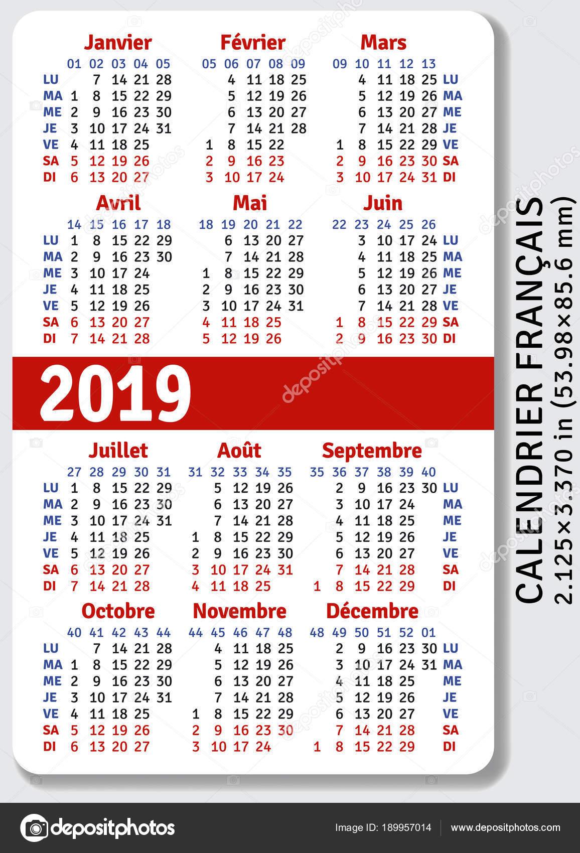 Calendrier Francais 2019.Calendrier De Poche Francais Pour 2019 Image Vectorielle