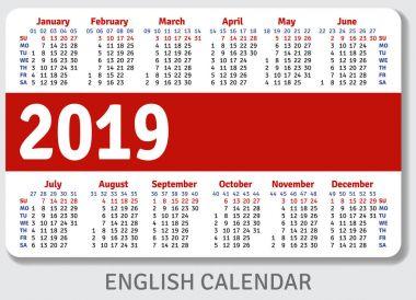 English pocket calendar for 2019
