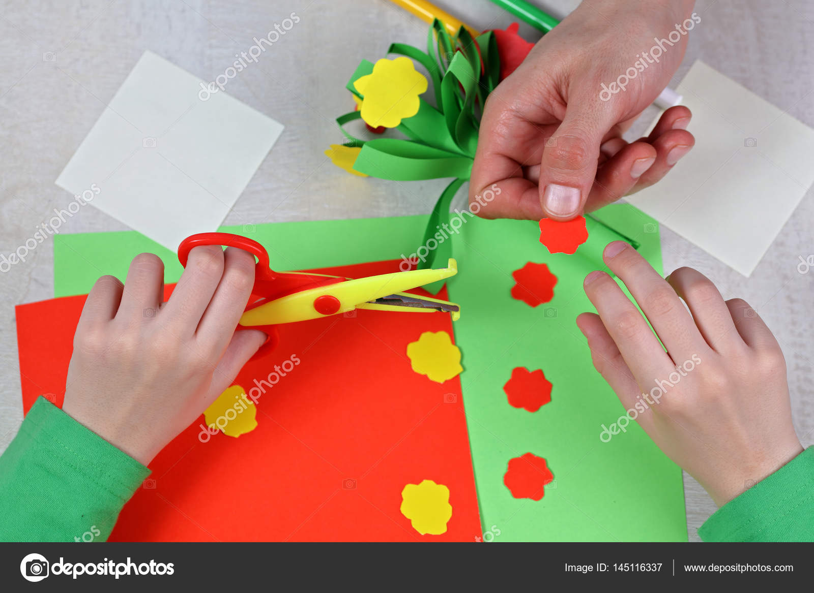 Child Cut Out Of Colored Paper Kid Making Birthday Card Father And Son Preparing Presents For Mothers Day Or 8 March Kids Art Projects