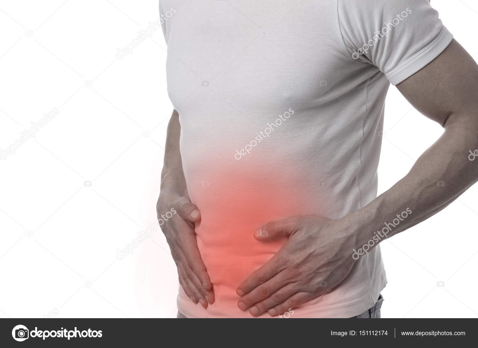 Man With Stomach Pain Digestive System Urinary Tract Infection