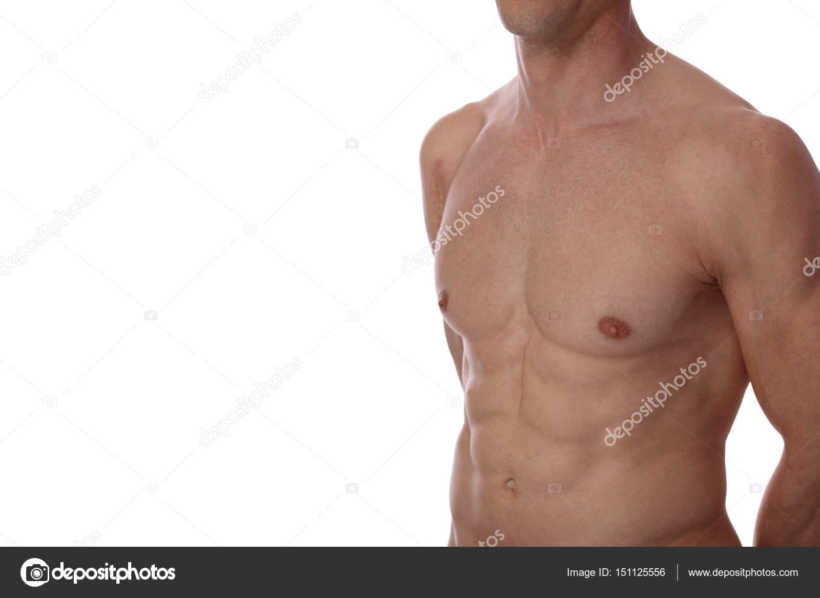 Nahaufnahme der muskulösen männlichen Oberkörper, Brust und ...