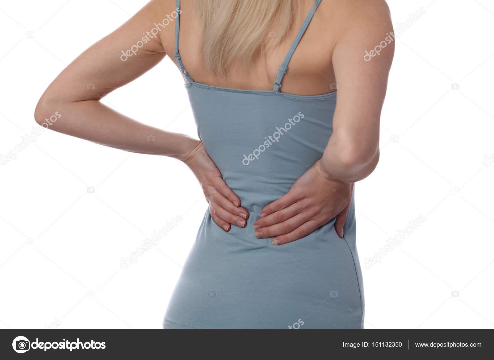 Rückenschmerzen. sportliche Fitness Frau reibt die Muskeln des ...
