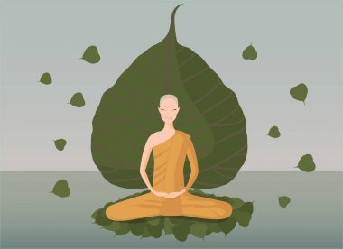 Monk meditation in front of green bothi leaf stock vector