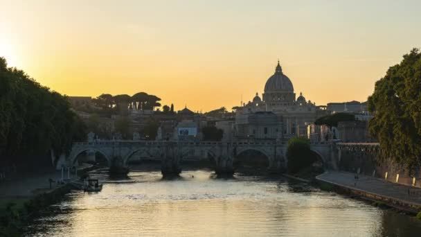 Sunset view of Vatican city state and Tiber River in Rome, Italy.