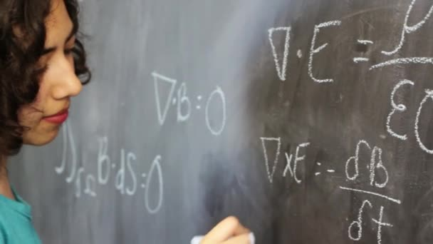 Smart young latin woman writing Maxwells equations on chalkboard