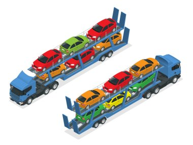 Isometric Car transport truck on the road with different types of cars flat vector illustration. The trailer transports cars