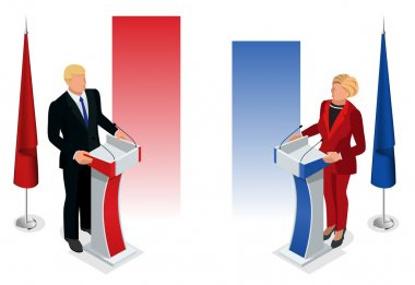 Us Election 2016 infographic Democrat Republican convention hall. Party presidential debate endorsement.