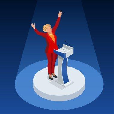 Us Election 2016 infographic Democrat Republican party candidate convention. Usa symbol Presidential debate vector icon.