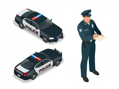 Isometric Police officer and police car with siren light blinking. Police officer in uniform. Modern police car. Policeman writing speeding ticket for a driver.
