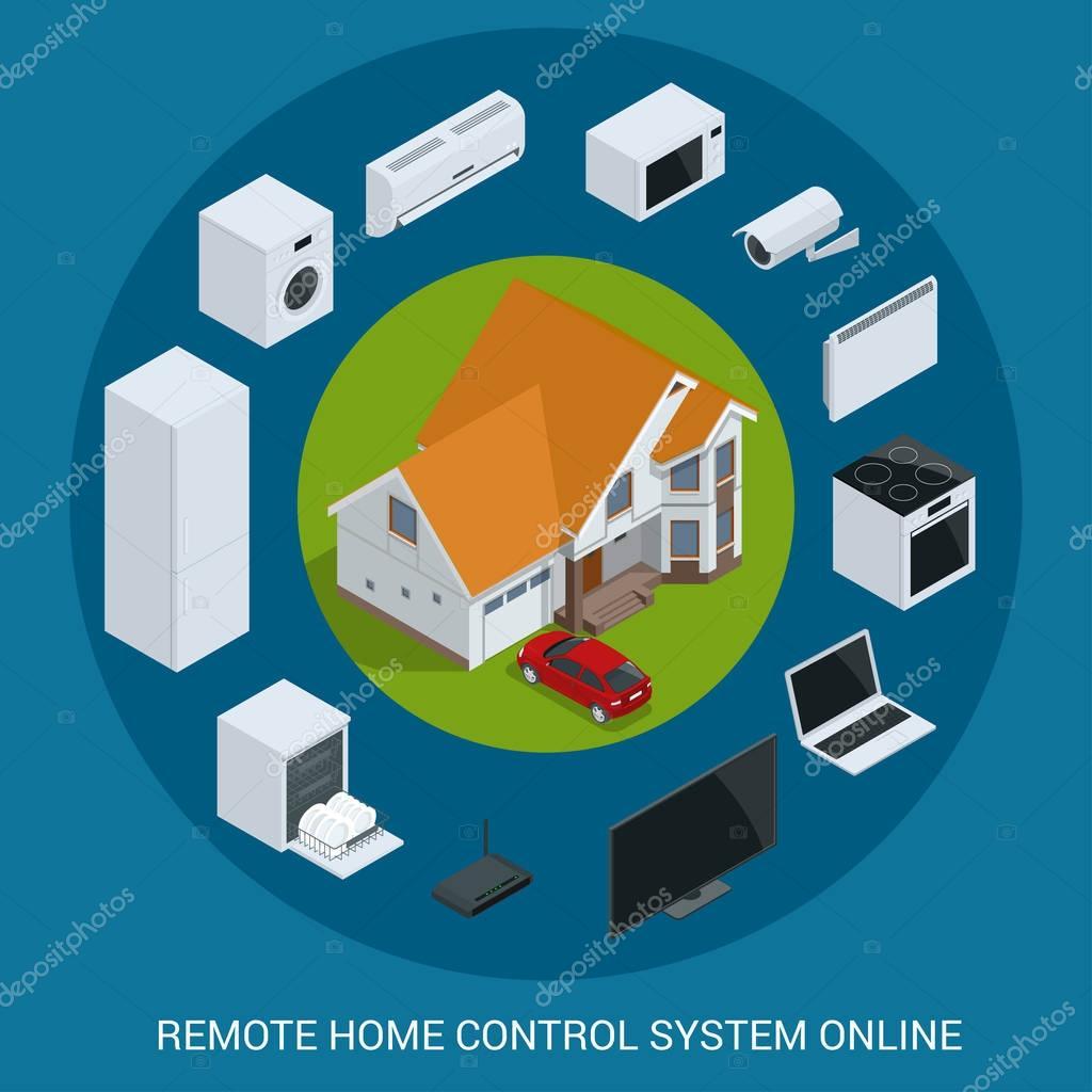 Flat design style modern vector illustration concept of smart home ...