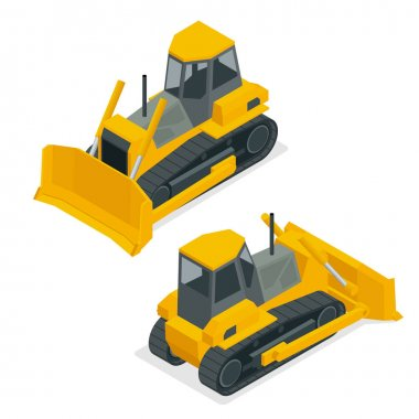 Isometric dozer or bulldozer. Set of the construction machinery vehicles.Continuous tracked tractor for mines, quarries, military bases, heavy industry factories, engineering projects, farms