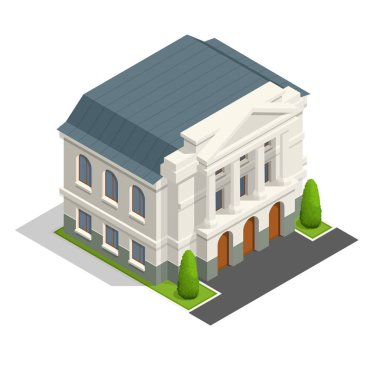 Vector mayoralty isometric building architecture public government buildings.