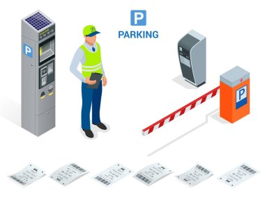 Isometric Parking Attendant. Parking ticket machines and barrier gate arm operators are installed at the entrance and exit of parking area as tools to charge parking fee.