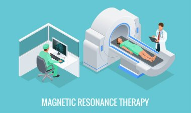 Doctor looking at results of patient brain scan on the monitor screens in front of MRI machine with man lying down. Flat isometric vector illustration.