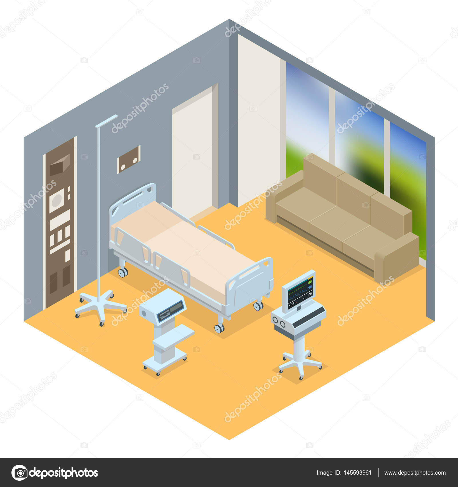Plano 3d vector ilustraci n isom trica interior sala de for Plano habitacion 3d