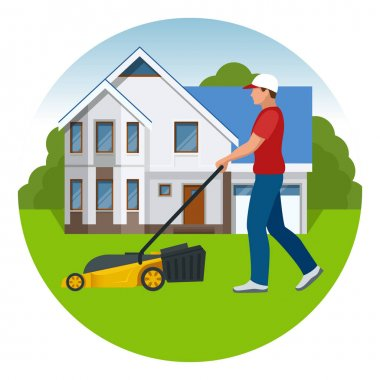 Man mowing the lawn with yellow lawn mower in summertime. Lawn grass service concept. Flat vector illustration