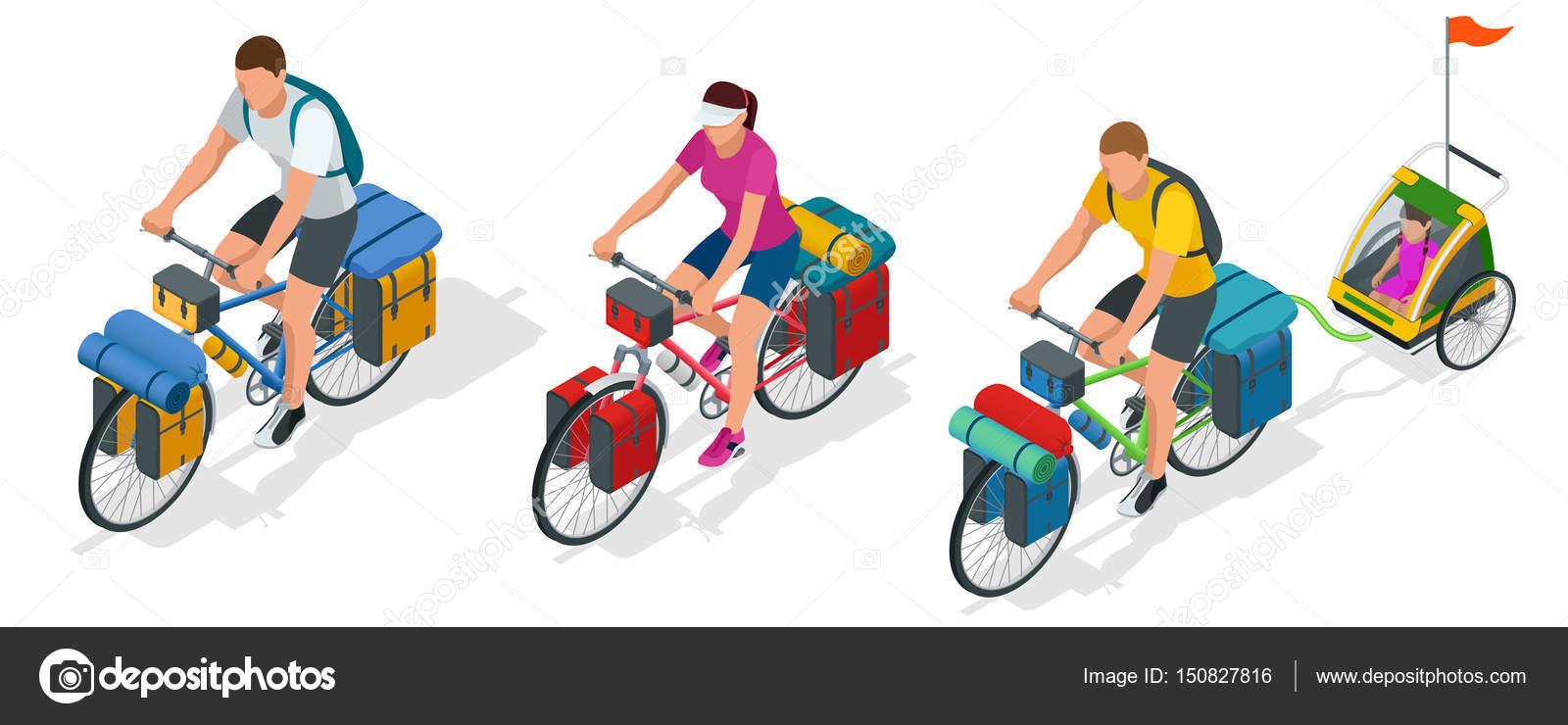 d428ea67b Isométricos ciclistas en bicicleta con bolsa de viaje para viajar — Vector  de stock