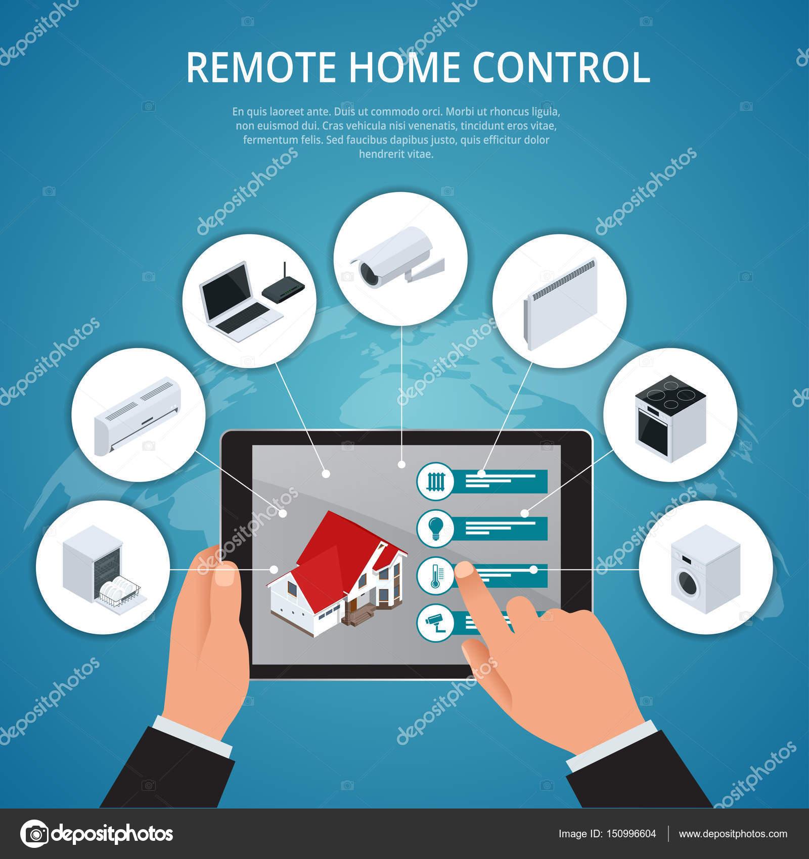 Smart House und Internet der Dinge-Konzept. Smartphone-Steuerung ...