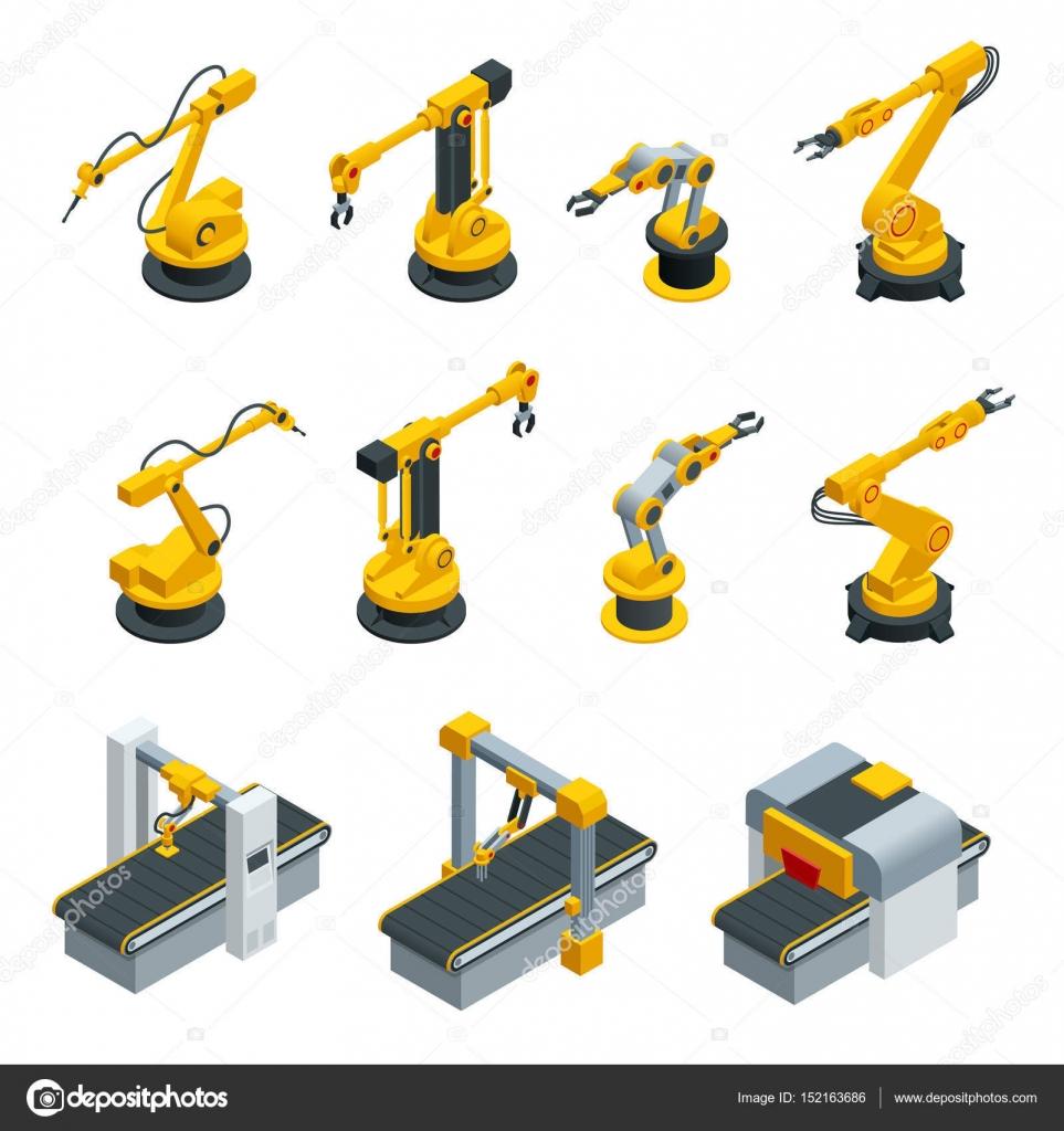 ロボットハンド工作産業製造工場での等尺性のセットです。溶接生産ライン メーカー工場でロボット産業 — ストックベクタ