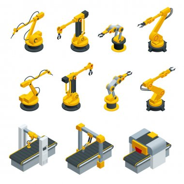 Isometric set of robotic hand machine tool at industrial manufacture factory. Industrial welding robots in production line manufacturer factory
