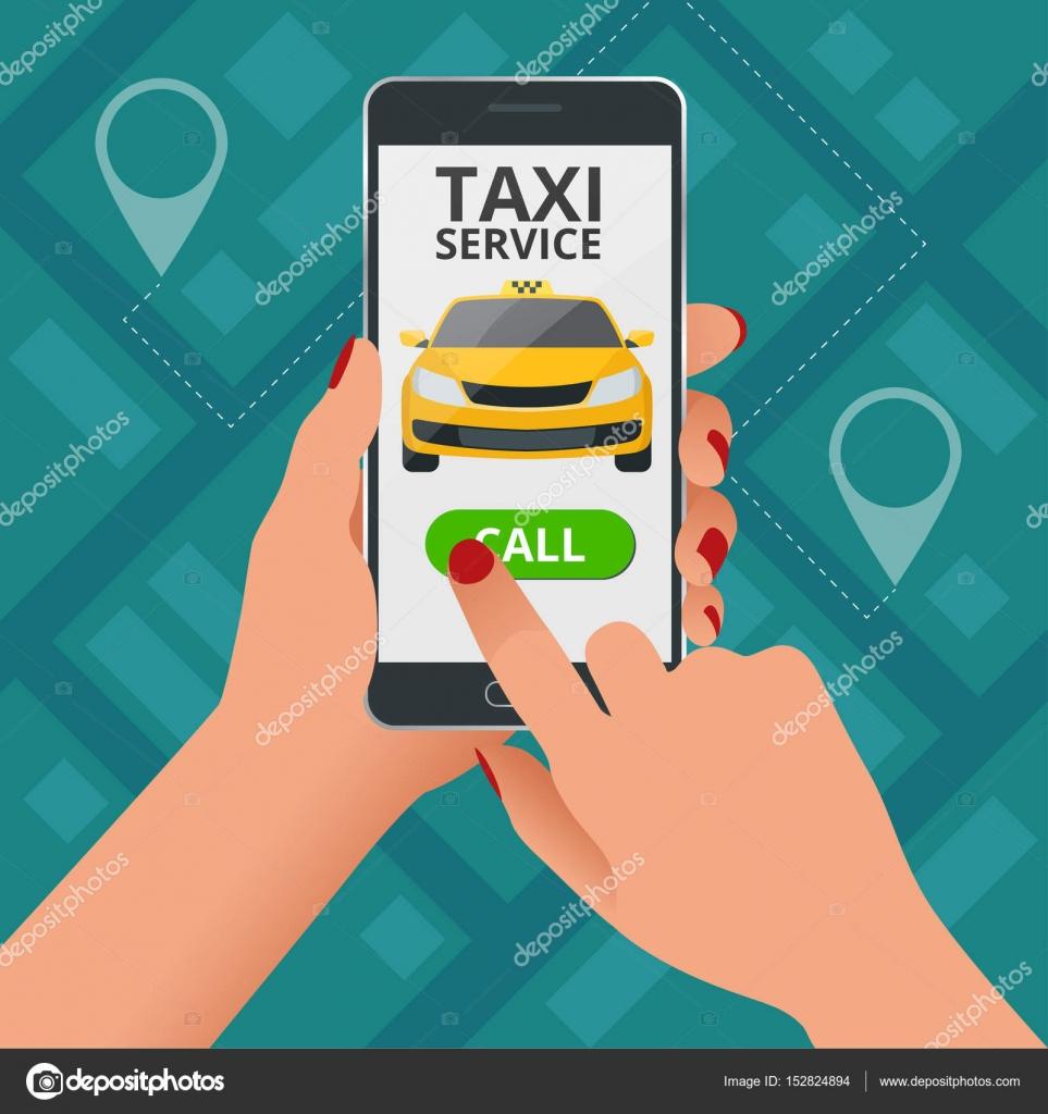 Online Taxi Service Konzept Frau Bestellt Ein Taxi Von