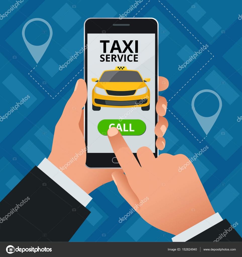 Lhomme Commande Un Taxi Son Tlphone Cellulaire Service Application Sur Lcran Modle De Carte Visite Vecteur Par Galaktika New