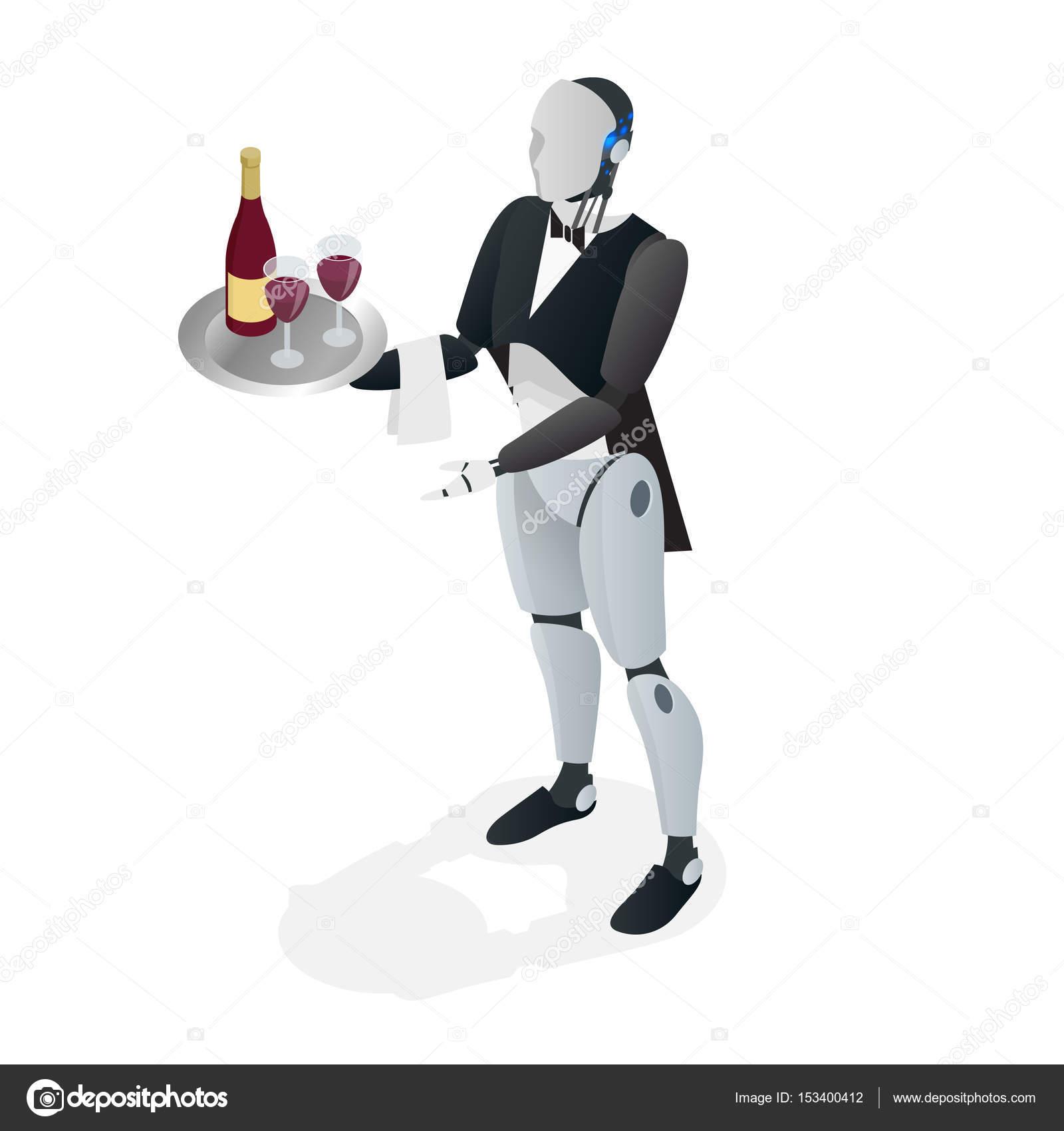 Camarero robot en smoking y guantes sosteniendo una bandeja de ...
