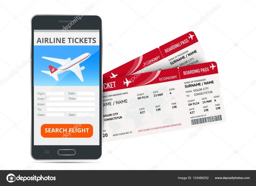 dff807ac0e65 Repülőjegy foglalás online app telefon és két beszállókártyák. Utazás,  utazás, vagy üzleti koncepció