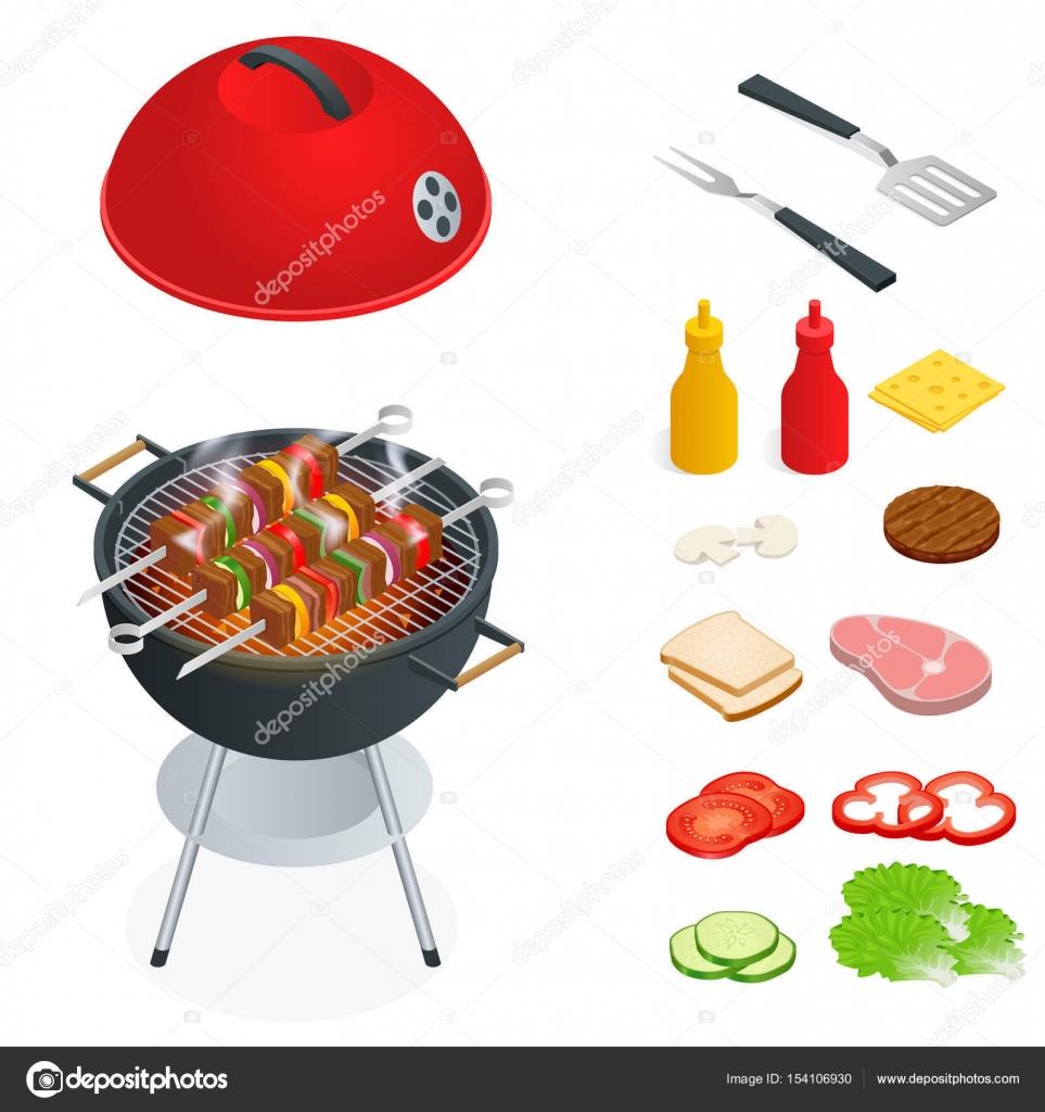 éléments De Conception De Barbecue Faire Griller Les Aliments De L