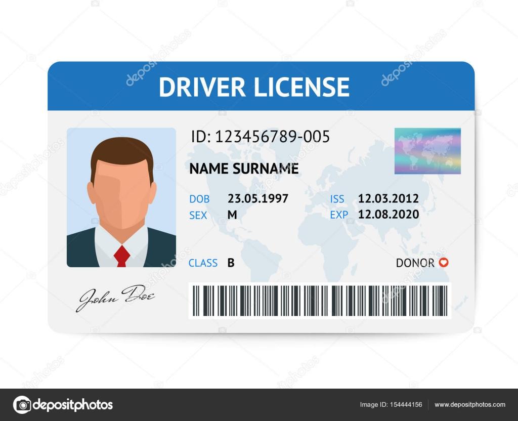Plantilla de tarjeta de plástico licencia hombre plano conductor ...