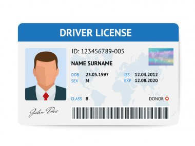 Flat man driver license plastic card template, id card vector illustration