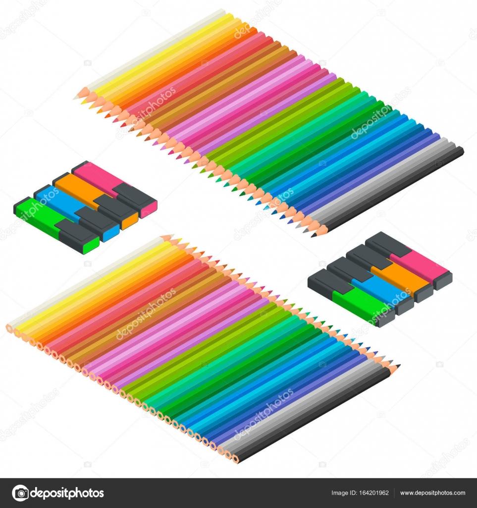 Jeu isomtrique des marqueurs et des crayons de couleur Ensemble