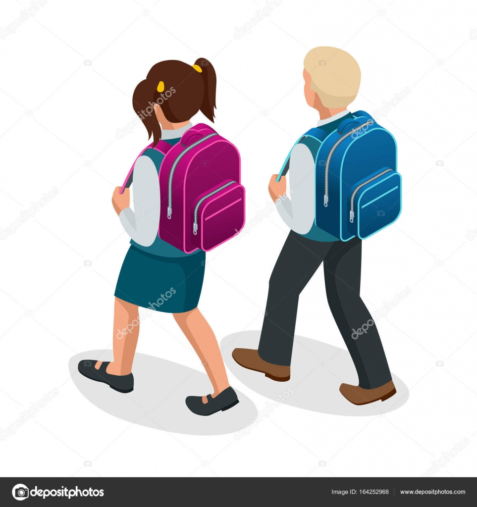Isometric boy and girl back to school concept  Children go to school