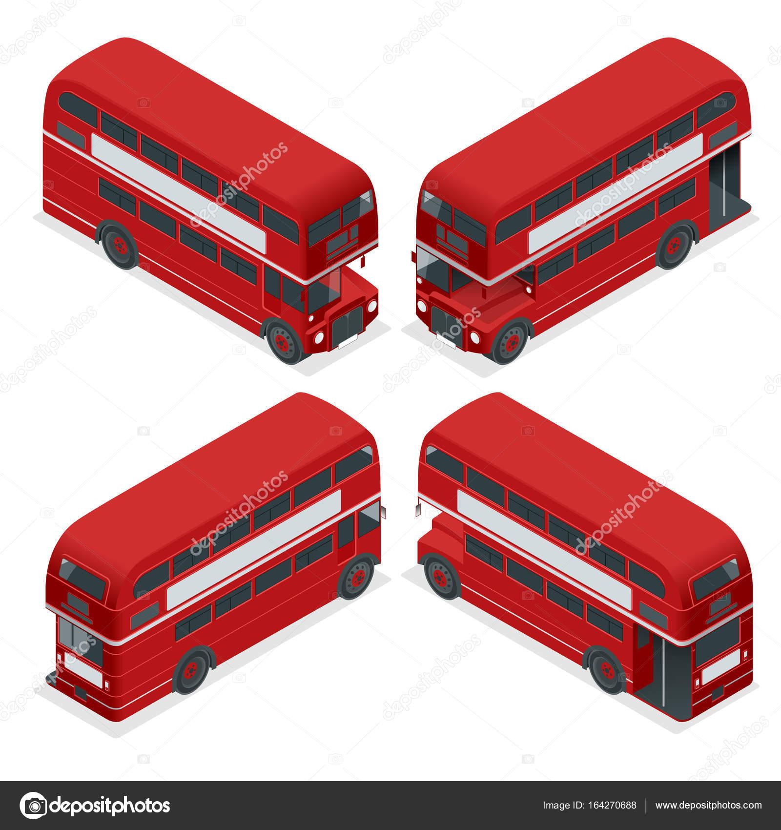 Isometrische hochdetaillierte Red Bus isoliert Doppeldecker London ...