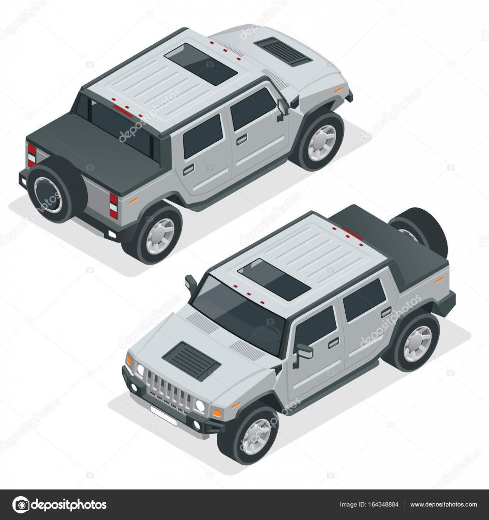 Sehr detaillierte isometrische Pickup-Truck Auto Off-Road-schreiben ...