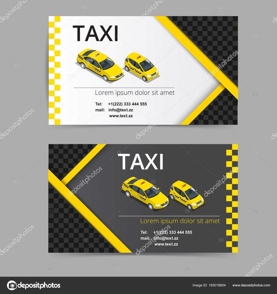 Carte De Visite Design En Couleurs Noirs Blancs Et Jaunes Modle Vecteur Pour La Compagnie Taxi Chauffeur Par Galaktika New