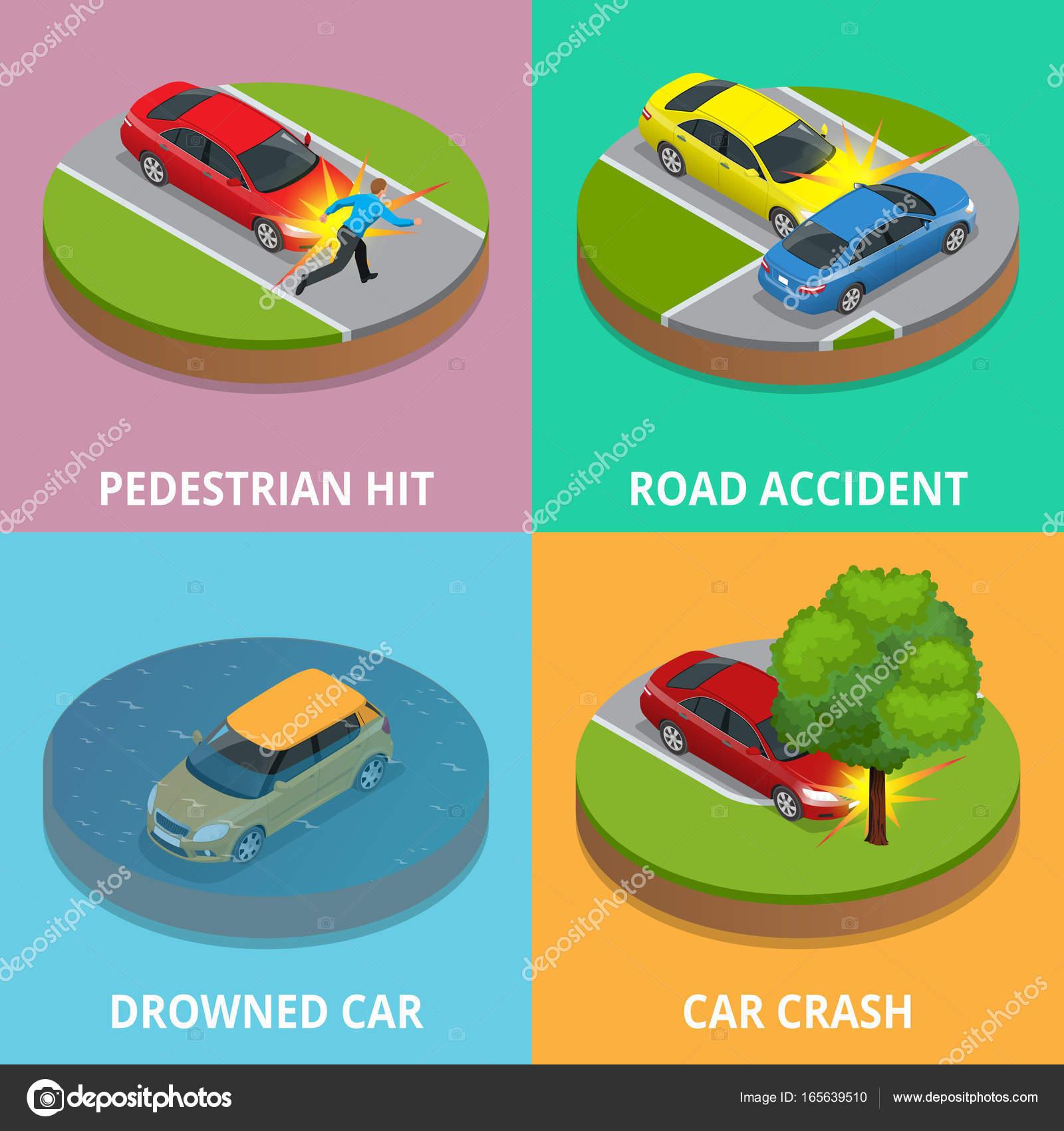 Isometrische Fußgänger getroffen, Verkehrsunfall, Ertrunkene Auto ...