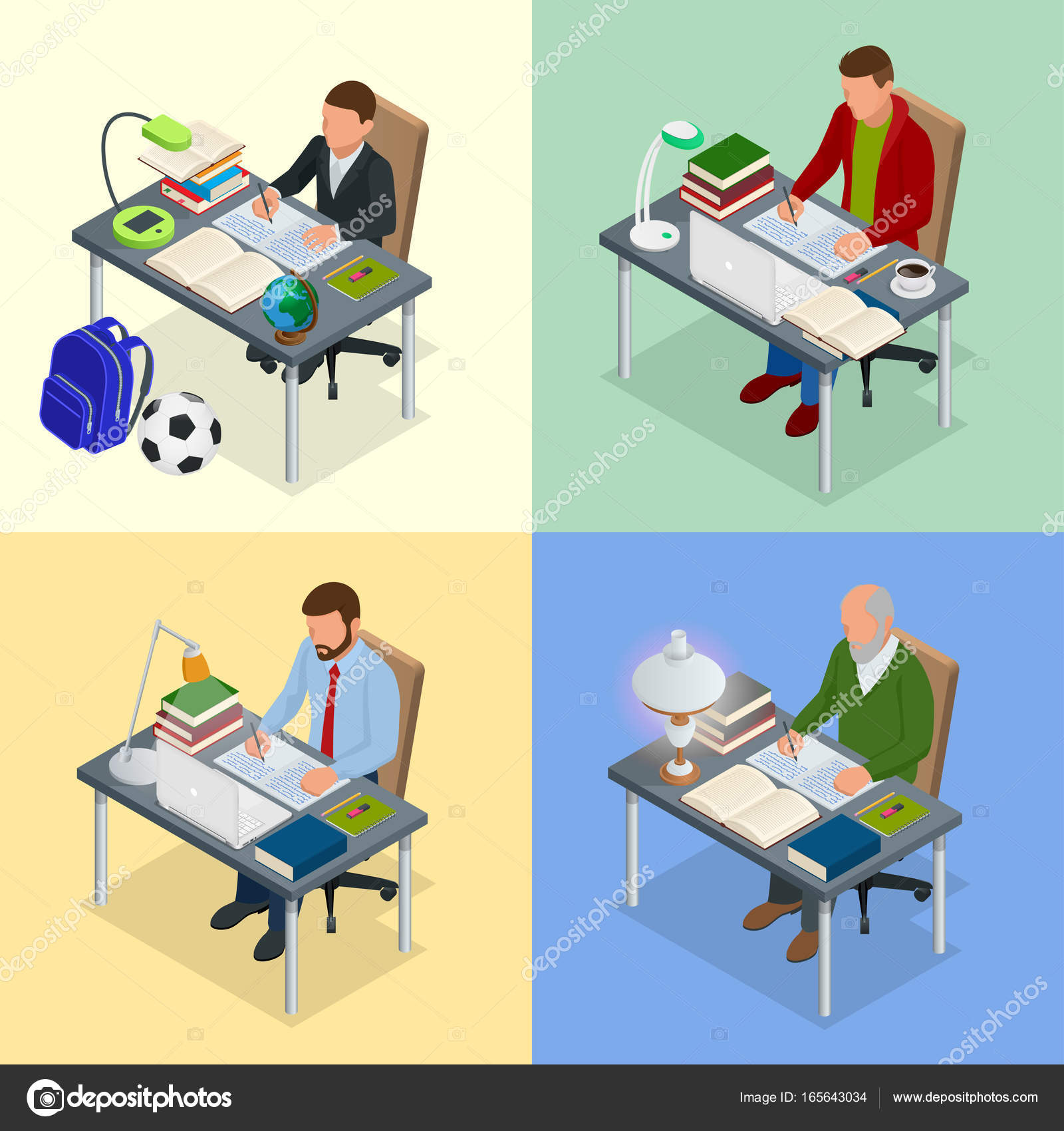 Cuatro imágenes isométricas sobre el tema de la formación. Un niño ...