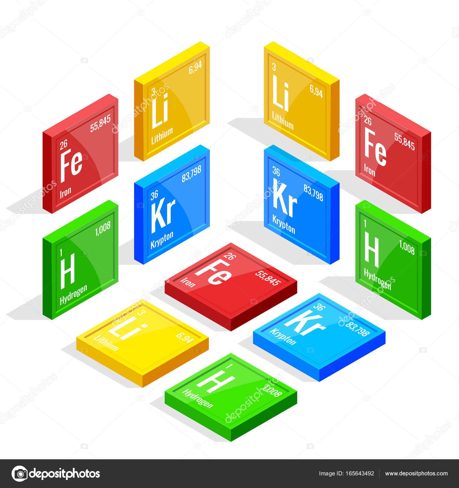 isomtrica conjunto de elementos de la tabla peridica de mendeleiev s tabla peridica vector ilustracin litio hierro criptn hidrgeno vector de - Tabla Periodica Litio