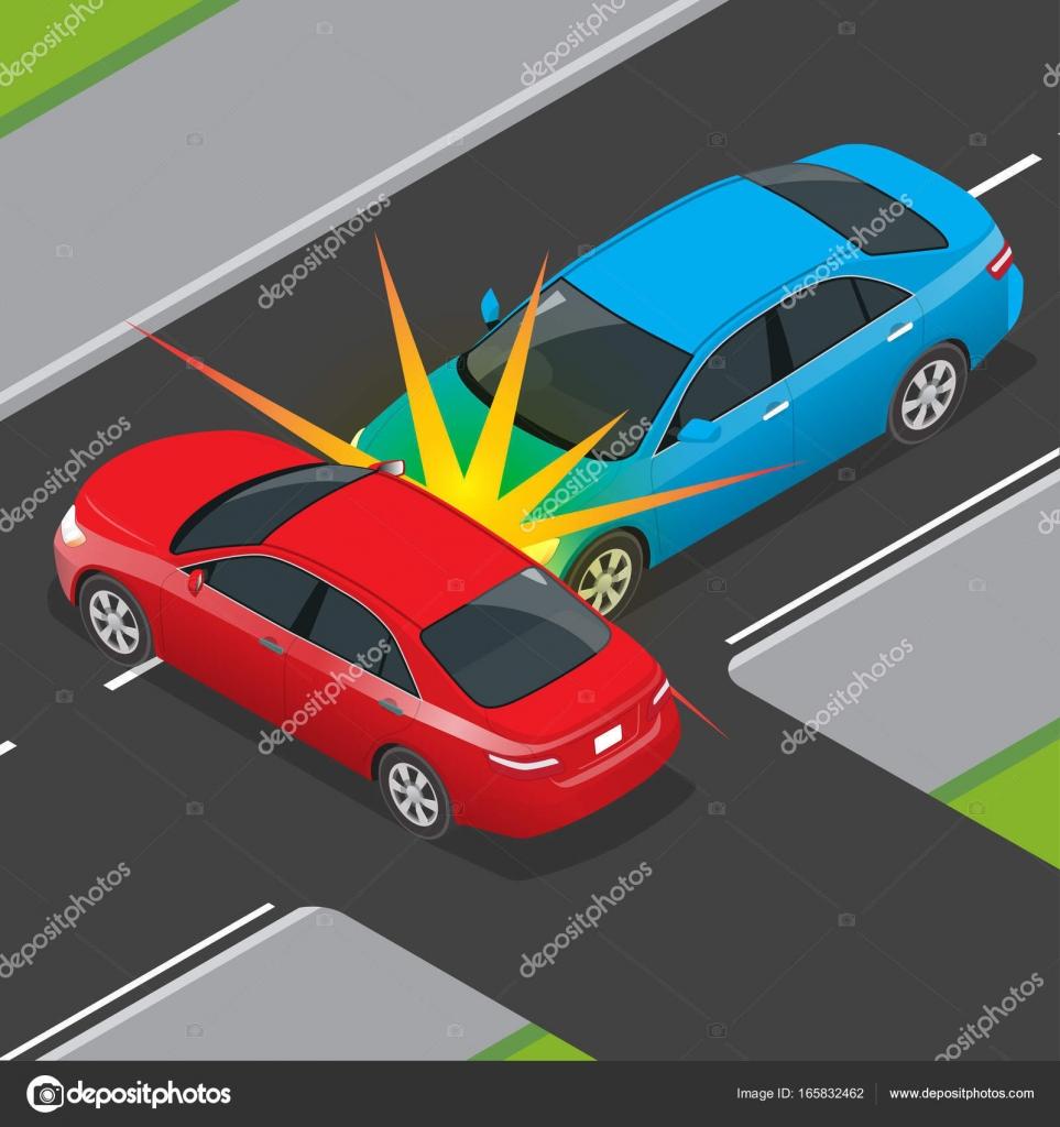 Isometrische Verkehrsunfall mit zwei Fahrzeugen auf der Straße. Auto ...